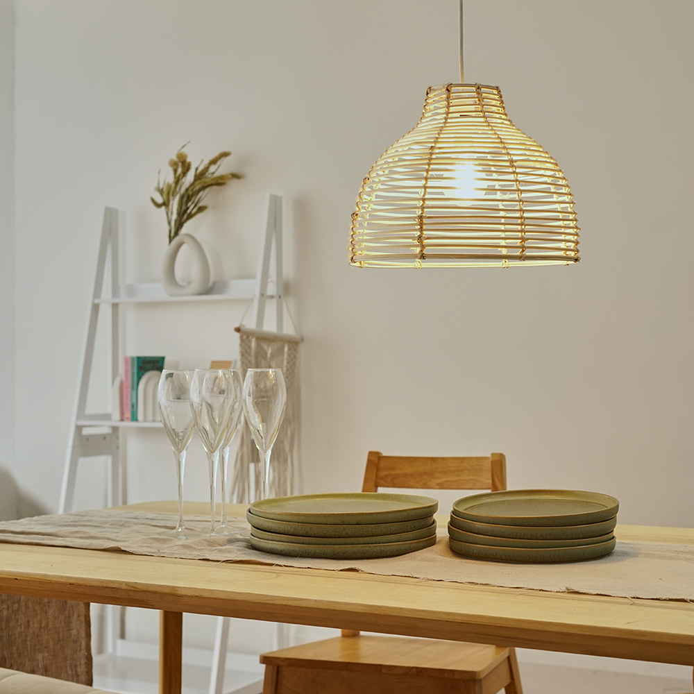 Modern-Round-Rattan-Wicker-Style-Ceiling-Pendant-Light-Lamp-Shades-Lampshades thumbnail 10