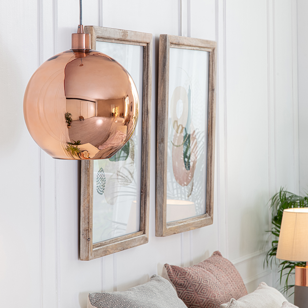 Copper-amp-Chrome-Metallic-Glass-Globe-Non-Electric-Ceiling-Pendant-Easy-Light thumbnail 24