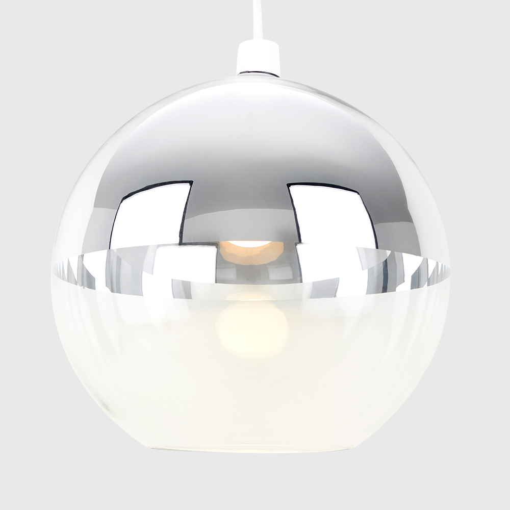 Copper-amp-Chrome-Metallic-Glass-Globe-Non-Electric-Ceiling-Pendant-Easy-Light thumbnail 29