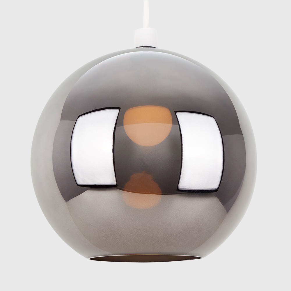 Copper-amp-Chrome-Metallic-Glass-Globe-Non-Electric-Ceiling-Pendant-Easy-Light thumbnail 4