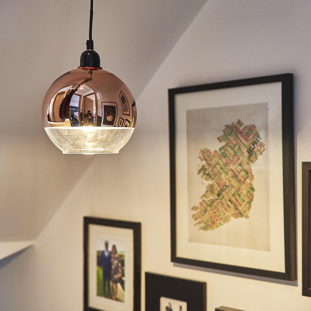 Modern-Metallic-Copper-Chrome-Glass-Globe-Ceiling-Pendant-Light-Lamp-Shades thumbnail 9