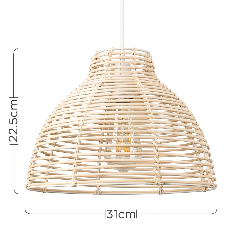 Modern-Round-Rattan-Wicker-Style-Ceiling-Pendant-Light-Lamp-Shades-Lampshades thumbnail 12