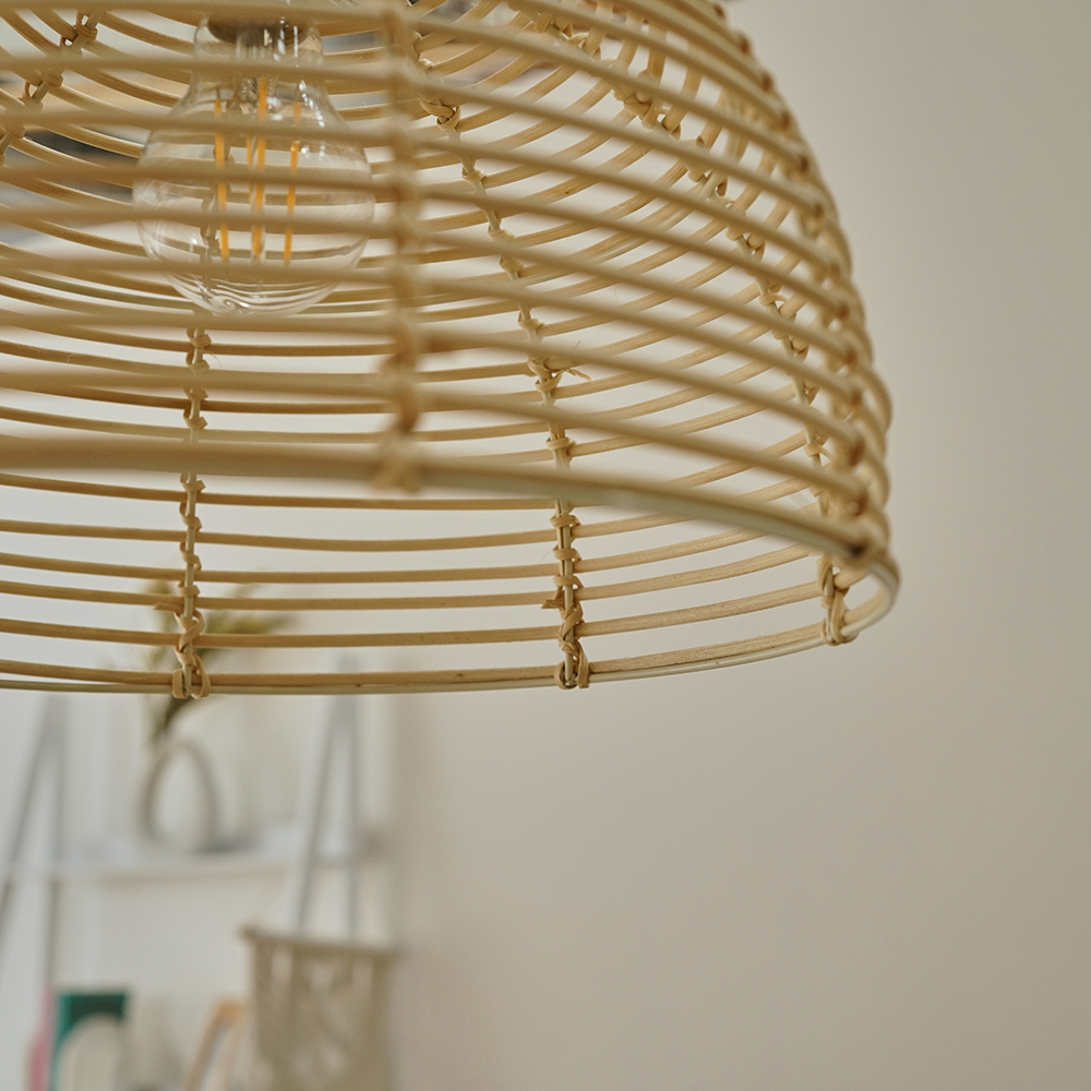 Modern-Round-Rattan-Wicker-Style-Ceiling-Pendant-Light-Lamp-Shades-Lampshades thumbnail 11