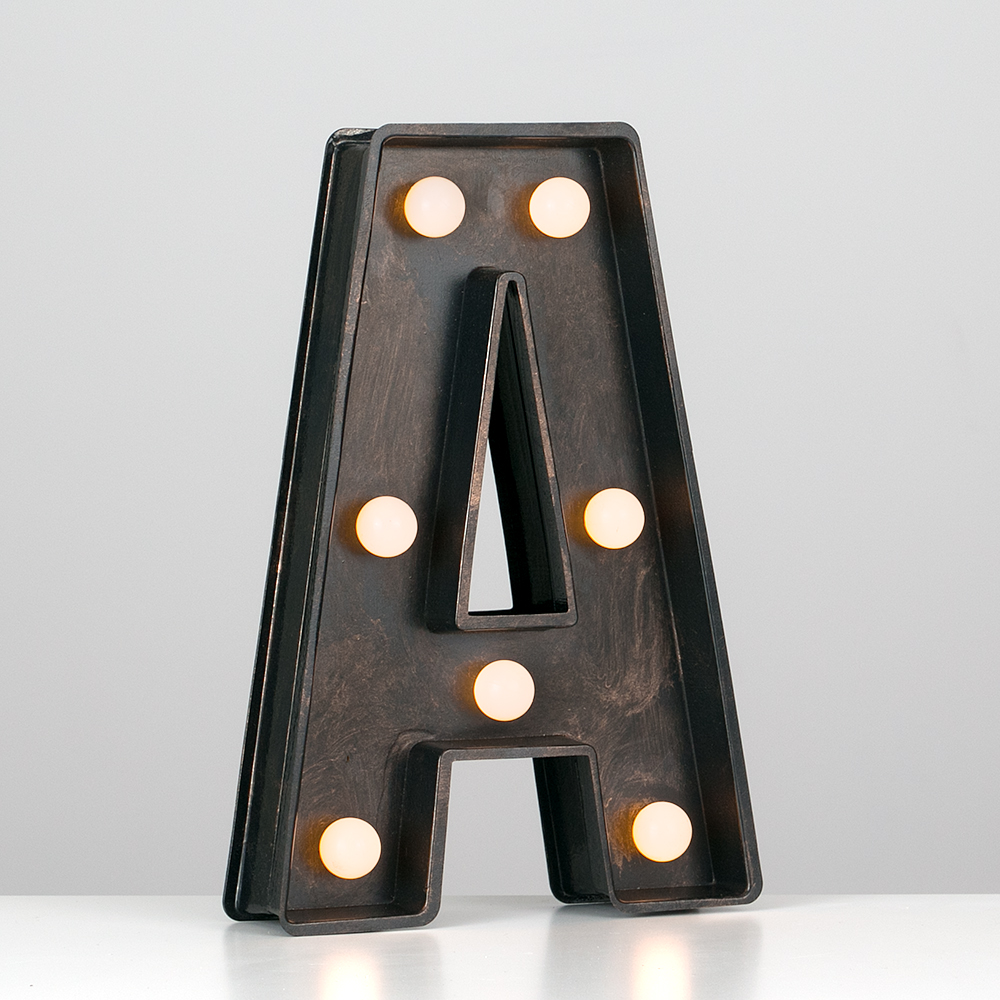 Vintage-Style-Bronze-A-Z-Light-Up-Marquee-Letters-Carnival-Personalised thumbnail 10