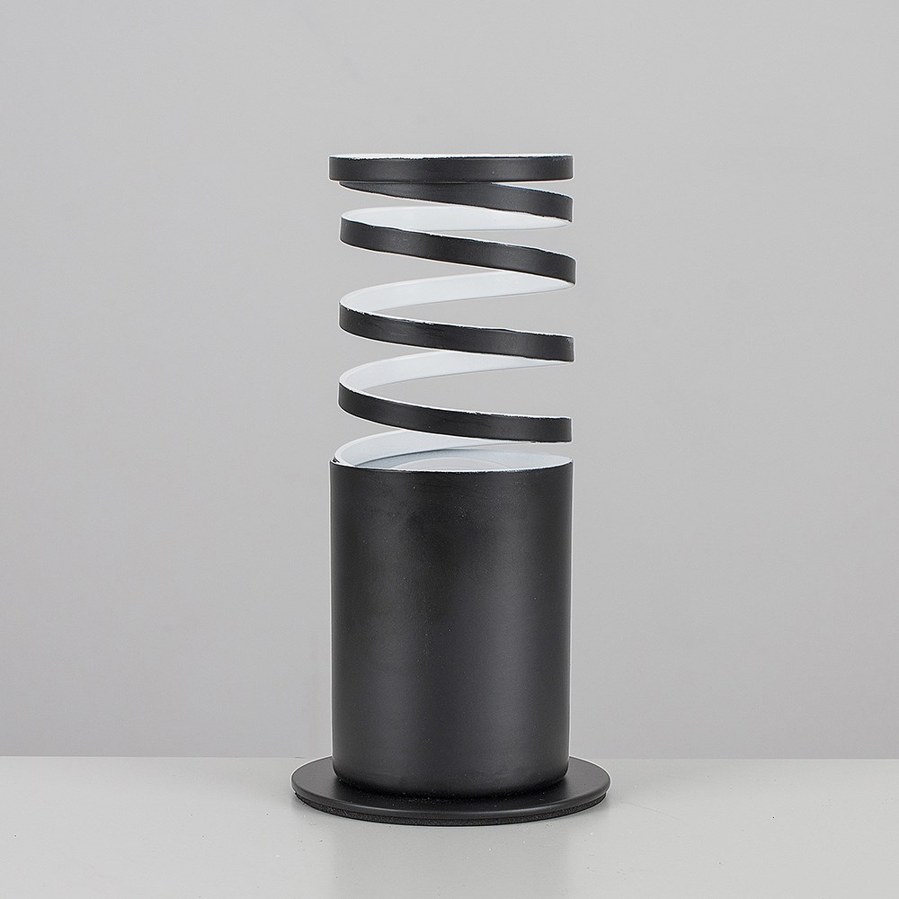 Black Spiral Twist Design Table Floor Standing Uplighter