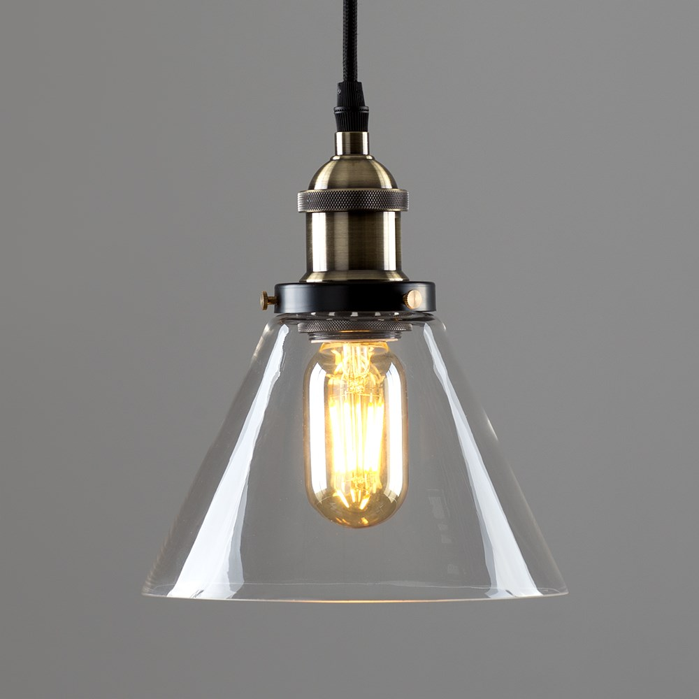 Vintage-Industrial-Steam-Punk-Style-Ceiling-Light-Fittings-Glass-Pendant-Shade thumbnail 12