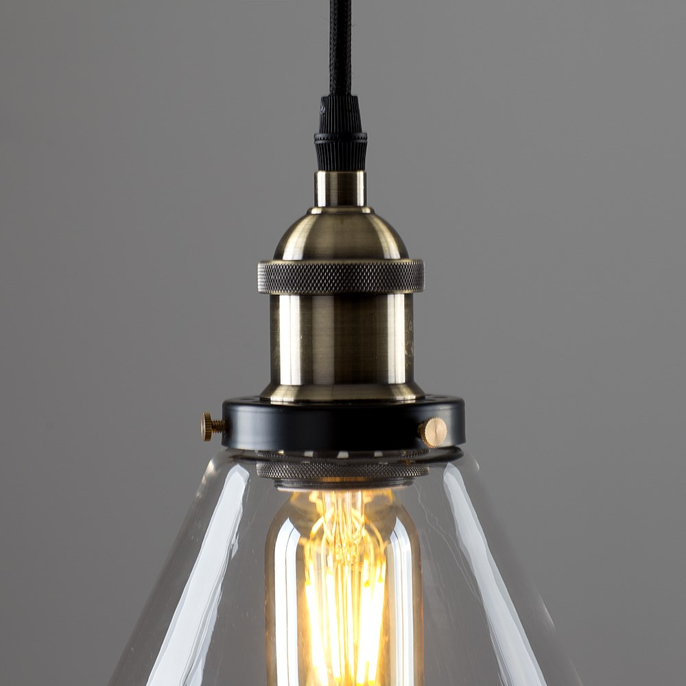 Vintage-Industrial-Steam-Punk-Style-Ceiling-Light-Fittings-Glass-Pendant-Shade thumbnail 13