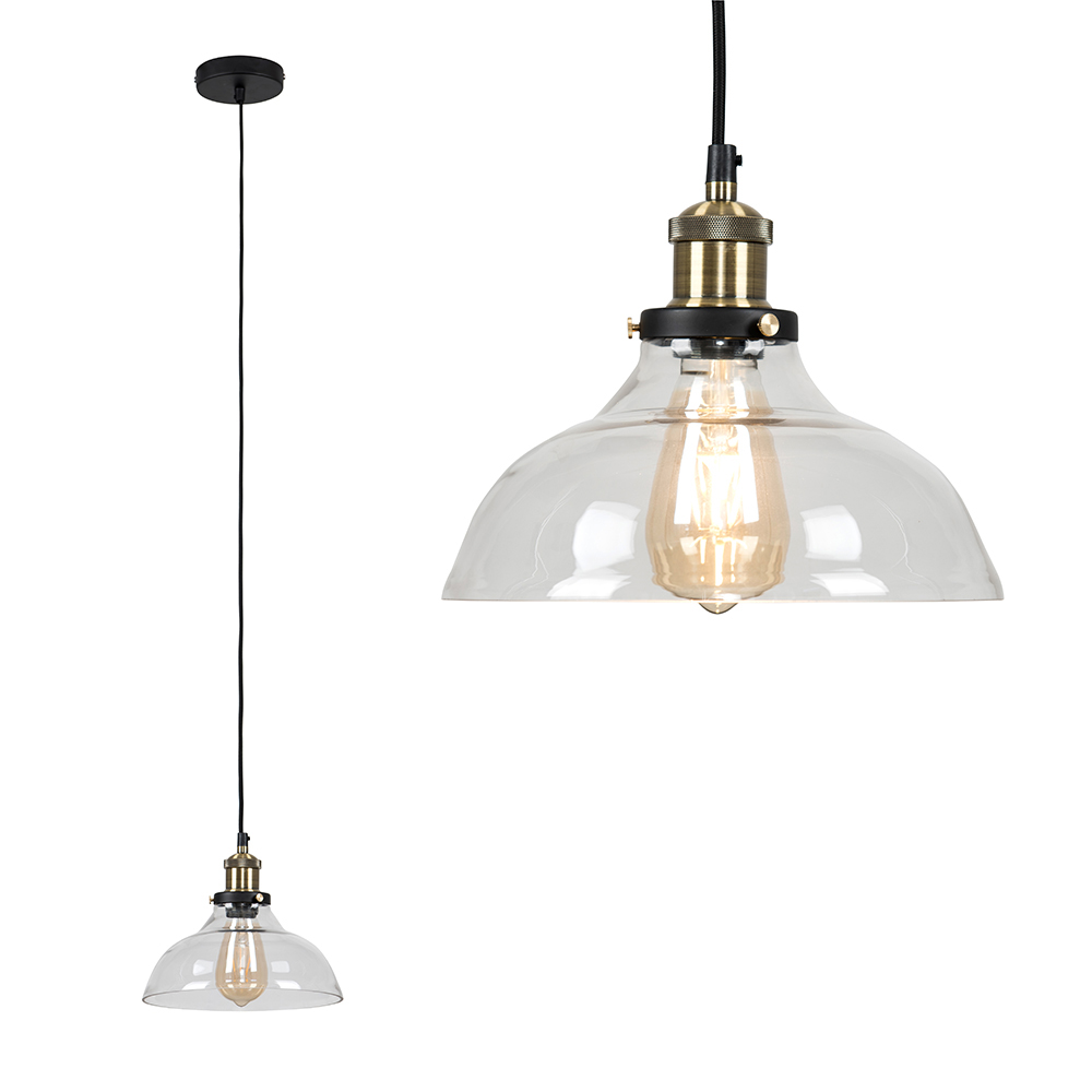 Vintage-Industrial-Steam-Punk-Style-Ceiling-Light-Fittings-Glass-Pendant-Shade thumbnail 32