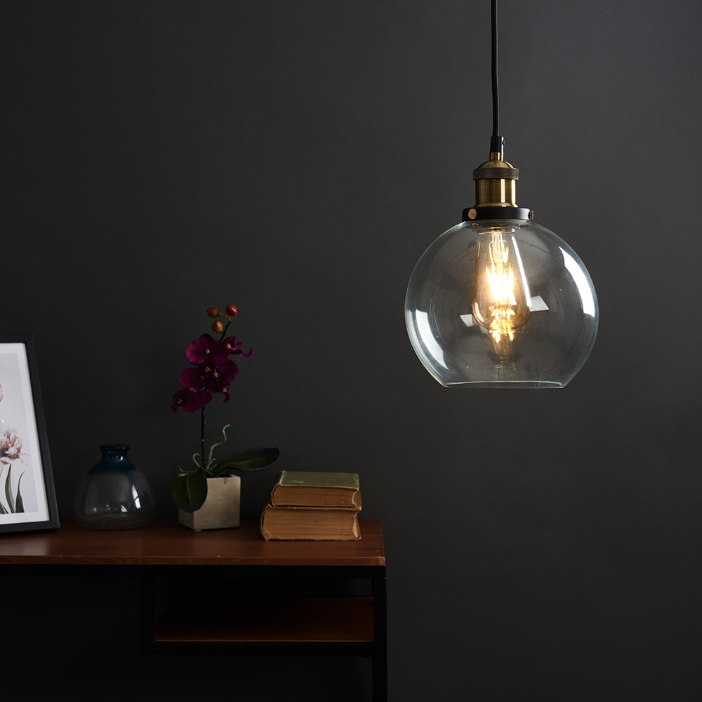 Vintage-Industrial-Steam-Punk-Style-Ceiling-Light-Fittings-Glass-Pendant-Shade thumbnail 30