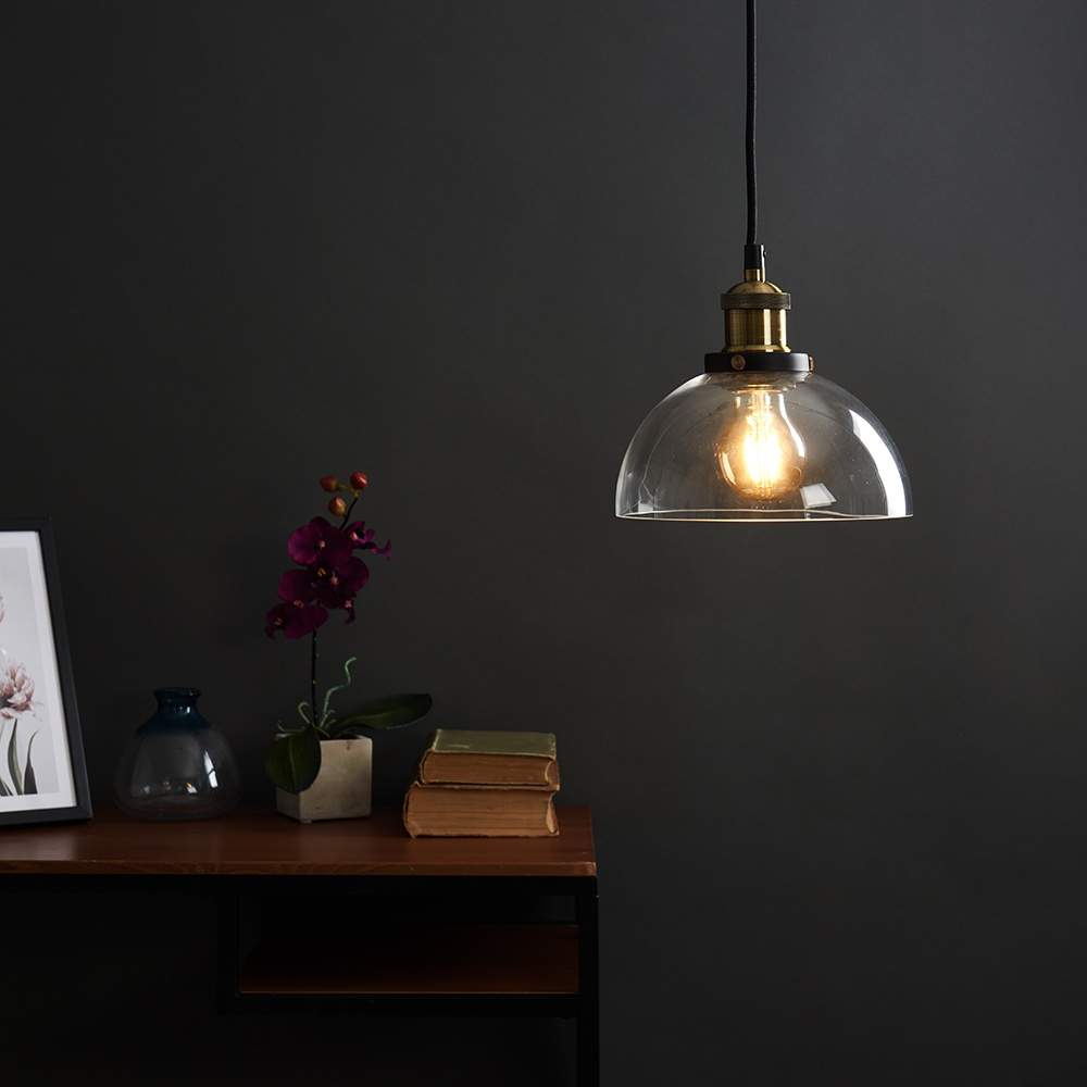 Vintage-Industrial-Steam-Punk-Style-Ceiling-Light-Fittings-Glass-Pendant-Shade thumbnail 8