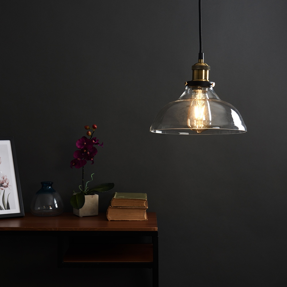 Vintage-Industrial-Steam-Punk-Style-Ceiling-Light-Fittings-Glass-Pendant-Shade thumbnail 37