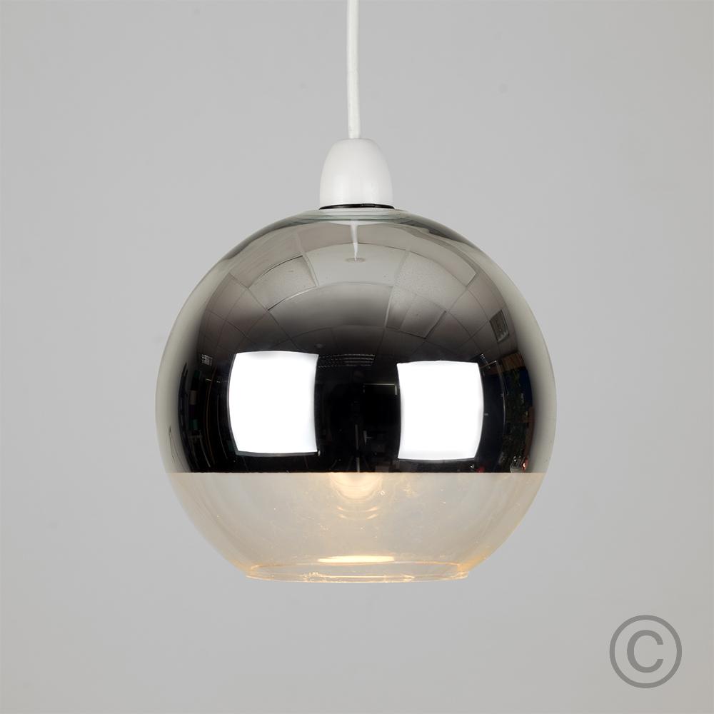 Modern-Metallic-Copper-Chrome-Glass-Globe-Ceiling-Pendant-Light-Lamp-Shades thumbnail 4
