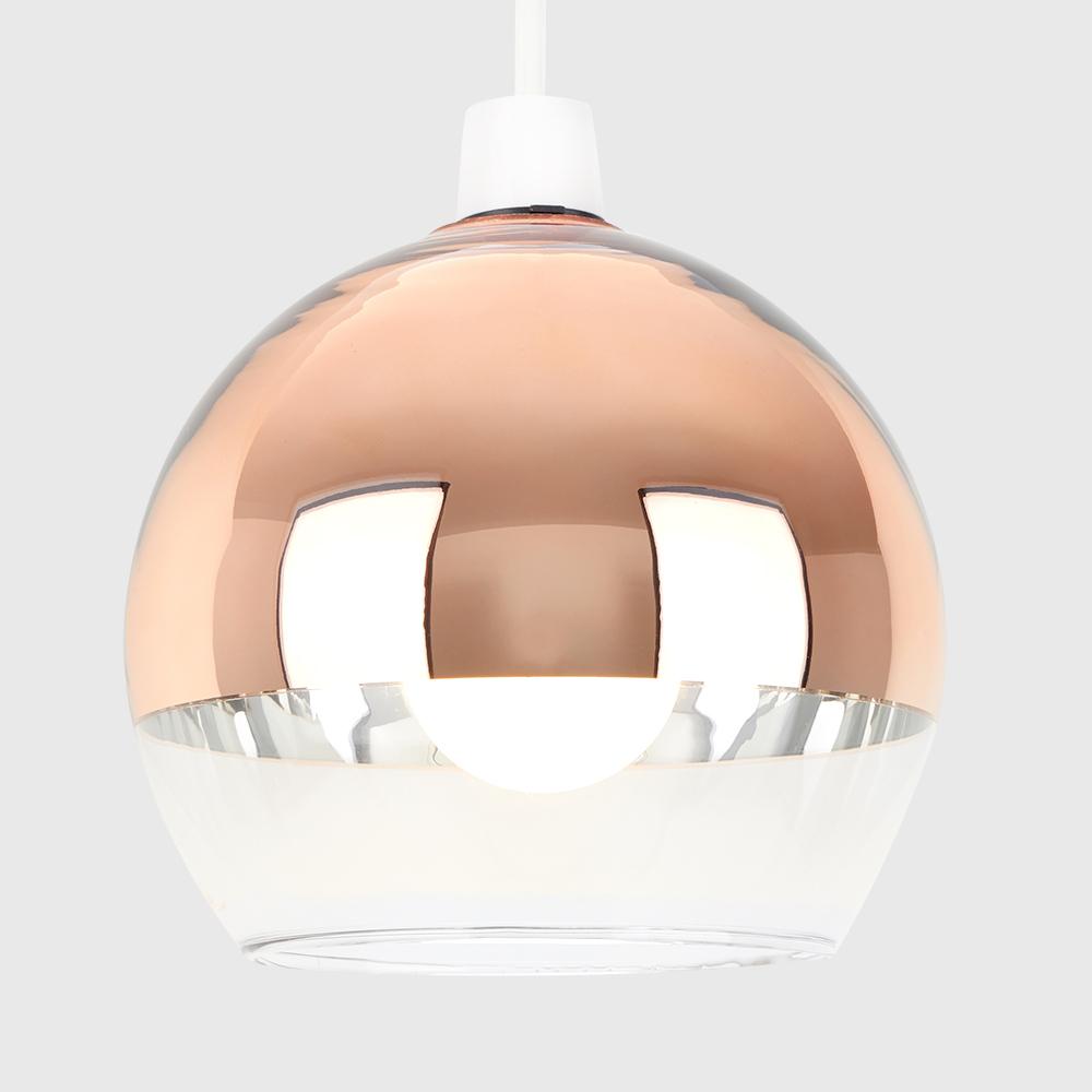 Modern-Metallic-Copper-Chrome-Glass-Globe-Ceiling-Pendant-Light-Lamp-Shades thumbnail 7